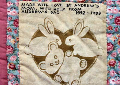 Andrew`s baby quilt label part 1 - 1993