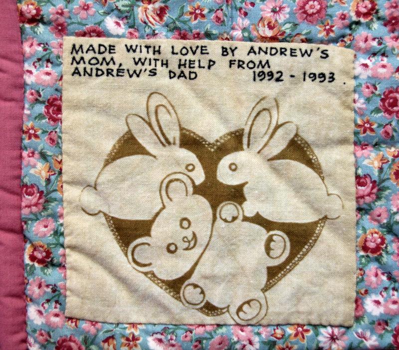 Andrew`s baby quilt label part 1 - 1993