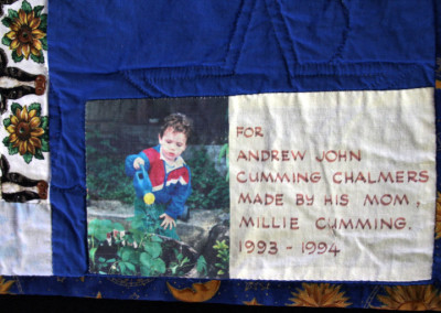 Label on Andrew`s big boy quilt, 1994