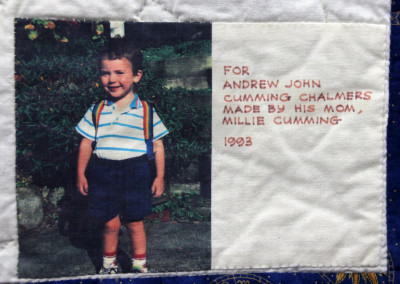 Label on Andrew`s nursery rhyme quilt, 1993