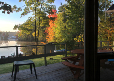 Cottage deck: good place for coffee and quilting