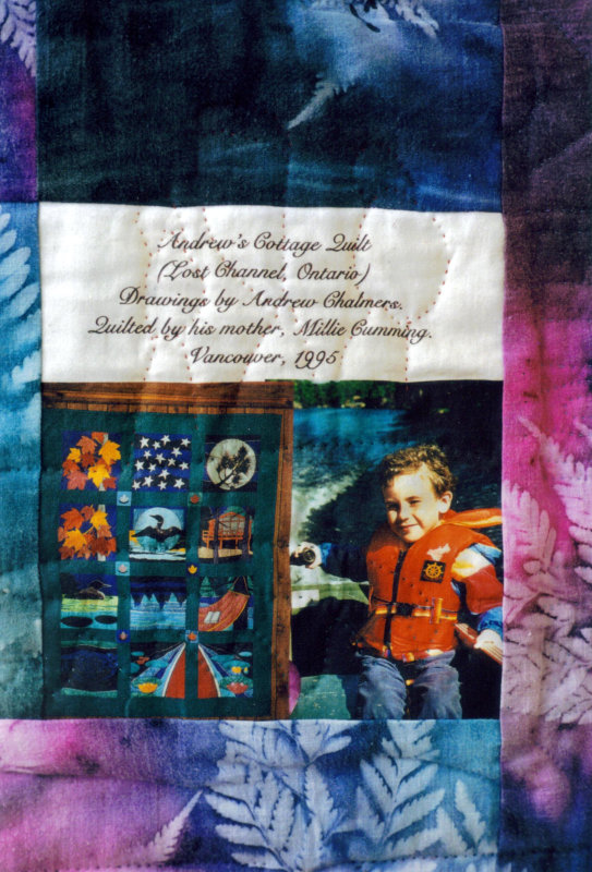 Label on Andrew`s cottage quilt, 1995