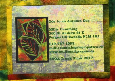 label on Ode to an Autumn Day quilt
