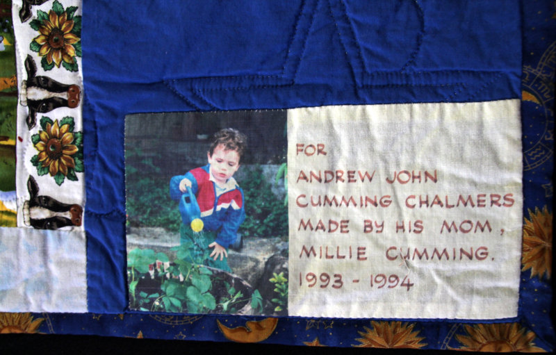 Label on Andrew`s big boy quilt