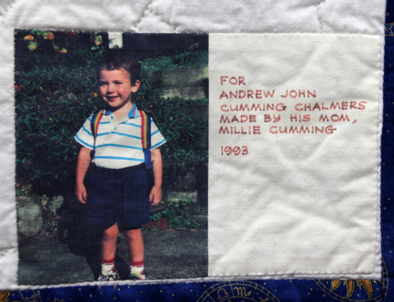Label on Andrew`s nursery rhyme quilt