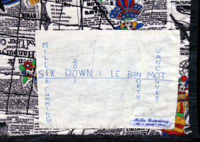 Label on Le Bon Mot quilt