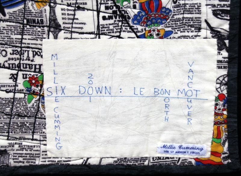 Label on Le Bon Mot quilt