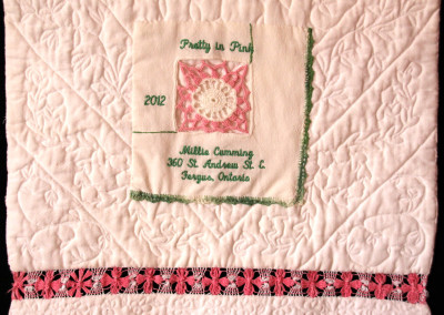 Label on Pretty in Pink quilt