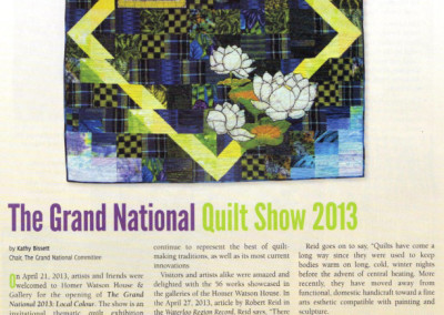 Canadian Quilter magazine - Reflections, Waterlily Bay II, autumn 2013