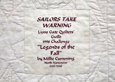 Label on Sailors Take Warning quilt
