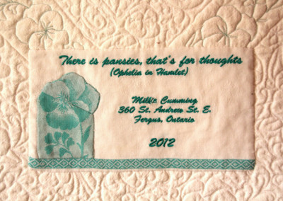 Label on There is Pansies quilt