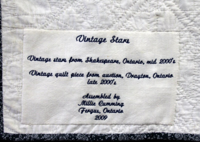 Label on Vintage Stars quilt