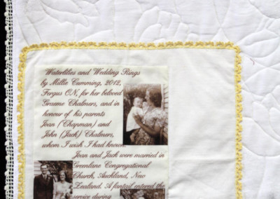 Label on Waterlilies and Wedding Rings quilt