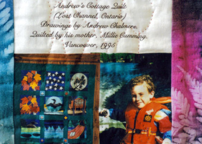 Label on Andrew`s cottage quilt