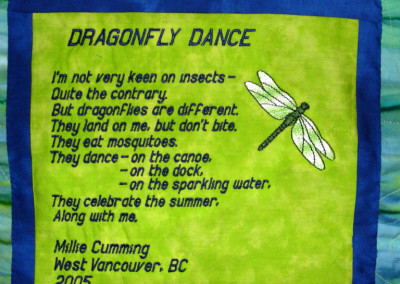 Label on Dragonfly Dance quilt