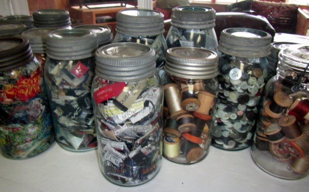 Vintage sealer jars with Millie's sewing treasures